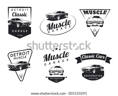 set of classic muscle car logo