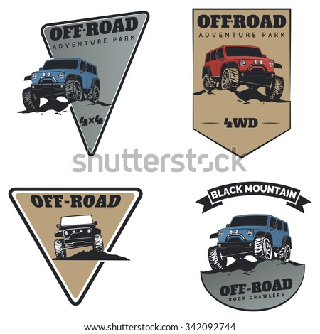 set of classic off road suv car