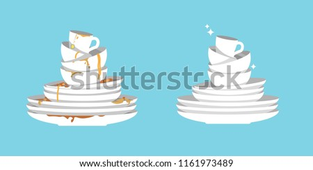 Set of clean and dirty dishes isolated on blue background. White kitchen household cutlery before and after wash. Detergent label design template. Vector illustration.