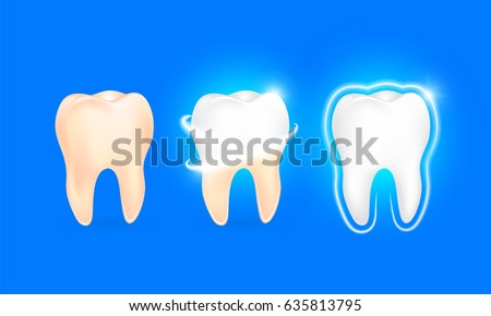 Set of  clean and dirty tooth on blue background, clearing tooth process. Teeth Whitening. Dental health Concept. Oral Care, teeth restoration. Yellow and white teeth.