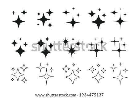 Set of Clean shining icons. Sparkle Sign. Flash symbol. Twinkle star shapes vector design. Stockfoto ©