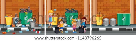 set of cleaning a street scenes
