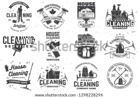 Set of cleaning company services badge, emblem. Vector. Concept for shirt, print, stamp or tee. Vintage typography design with cleaning equipments. Cleaning service sign for company related business