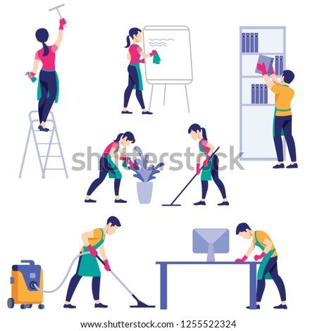 Set of cleaning company staff different poses. A man with a vacuum cleaner. Woman with buckets and mops. Vector illustration in a flat style
