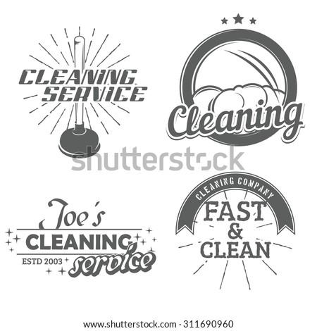 set of cleaning emblems  badges