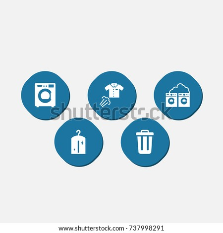 set of 5 cleaning icons set
