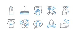 Set of Cleaning icons, such as Dry t-shirt, Washing cloth, T-shirt, Cleaning spray, Vacuum cleaner, Cleaning mop, Water splash, Clean bubbles, Shampoo, Rubber gloves line icons. Vector