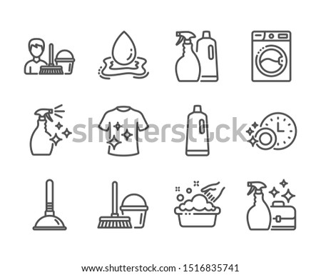 Set of Cleaning icons, such as Washing machine, Shampoo, Dishwasher timer, Washing cleanser, Cleanser spray, Plunger, Bucket with mop, Water splash, Shampoo and spray, Clean t-shirt. Vector