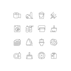 Set of 16 cleaning line icons. Contains icons such as a toilet, toilet paper, paper towels, a cleaner, laundry, iron, vacuum cleaner and much more. 64x64 pixel perfect. Vector illustration.