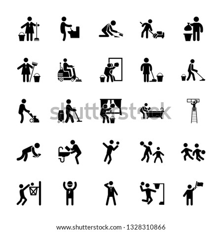 Set Of Cleaning Pictograms