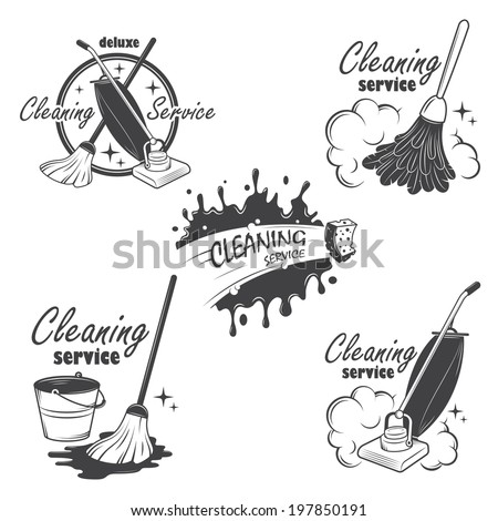 set of cleaning service emblems