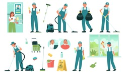 Set of cleaning service employees and equipment and tools for cleaning premises. Cleaning order through a mobile application. Vector illustration in flat style