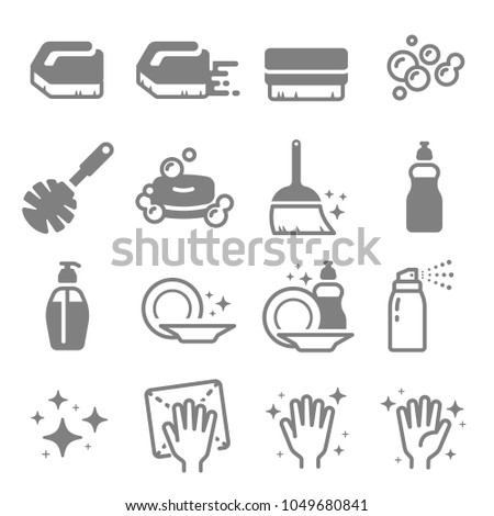 Set of Cleaning Vector Line Icons. Brush, Spray, Bubbles, Clean Surface, Soap, Dish, hand, blink, bubble and more.