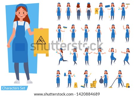 Set of cleaning woman staff character vector design. Presentation in various action with emotions, running, standing and walking.