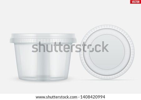 Set of Clear Plastic container with lid for food. Circle Realistic Blank of Food delivery and foodstuff. Vector Illustration isolated on background. Photo stock ©