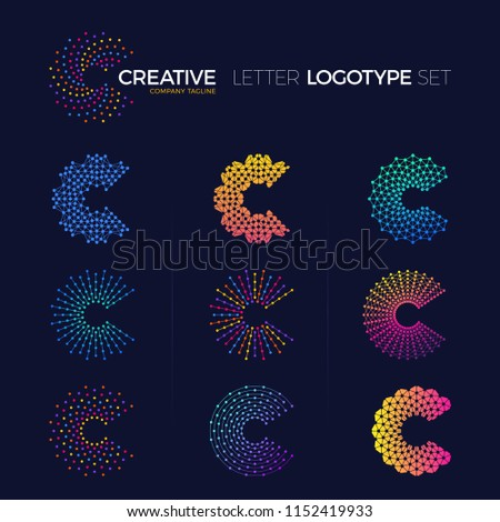 Set of Clever and creative dots or point crypto letter c logo smart and idea logotype