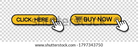 Set of click here web button in line style, isolated website buy or download bar icon with hand finger clicking cursor for buy or register design