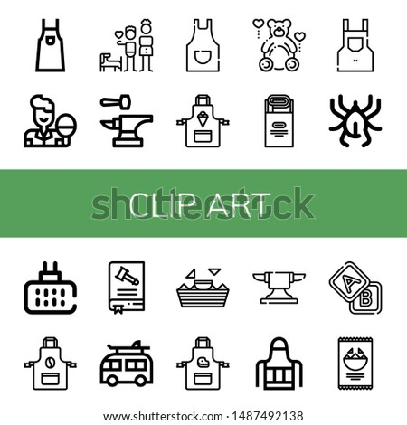 Set of clip art icons such as Apron, Table tennis, Brothers, Anvil, Teddy, Jam, Acari, Mosquito repellent, Constitution, Camper, Nachos, Blocks , clip art