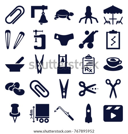 set of 25 clip filled icons