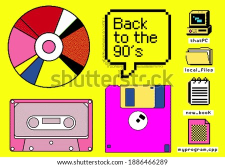 Set of clipart elements with retro obsolete things: floppy disk, music CD and cassette, etc. Vector illustrations in pixel art style. Zdjęcia stock ©