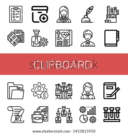 Set of clipboard icons such as Diagnosis, Paper, Add package, Manager, Medical record, Write, Stationery, Agenda, Document, Management, Manage, Writing, Test , clipboard