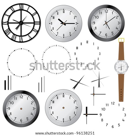 Set of clock and elements of clocks on the white background.