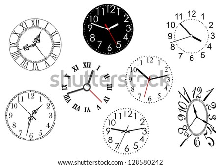 Set of clock dials for any time concept or design. Jpeg version also available in gallery