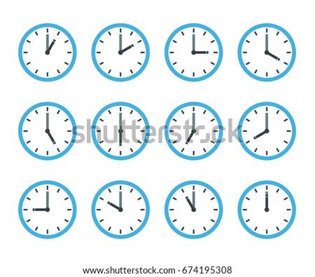 Set of clock flat icon