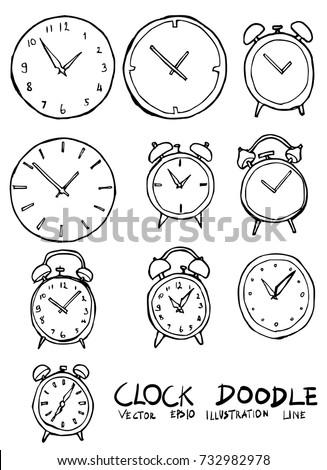 Set of Clock illustration Hand drawn Sketch line vector