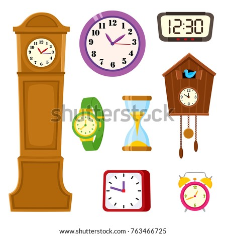 Set of clocks and watches - alarm, tower, cuckoo, wristwatch, hourglass, cartoon vector illustration isolated on white background. Set of alarm and cuckoo clock, hourglass, tower and wristwatch icons