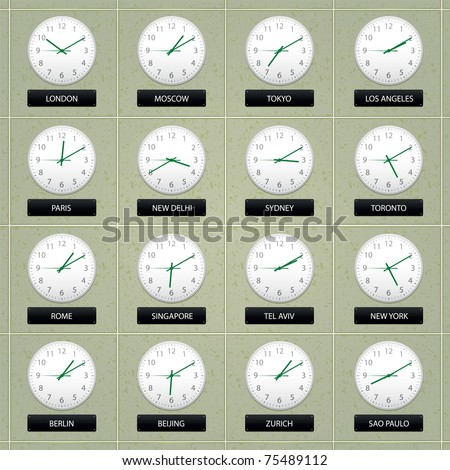 set of clocks on a wall showing