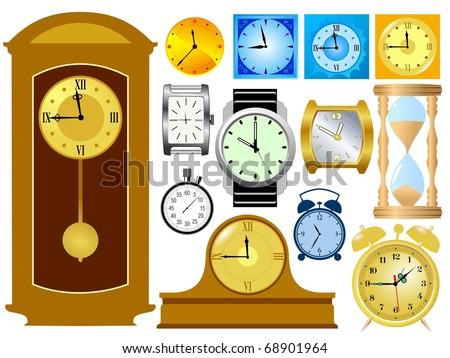 Set of clocks. Vector