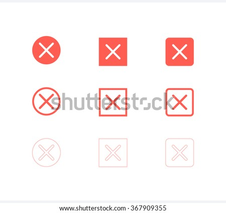 Set of close icon, vector close icon
