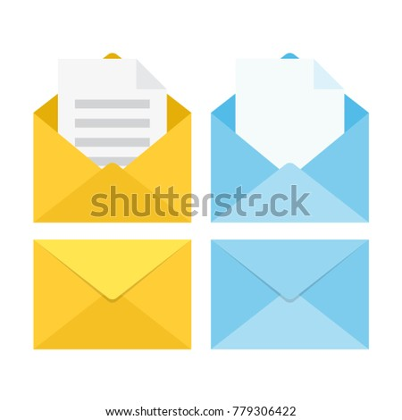 set of closed and open envelopes. isolated on white background. Vector illustration
