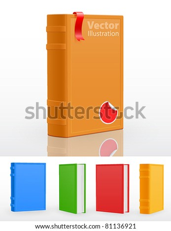 Set of closed standing books. Vector illustration. - stock vector