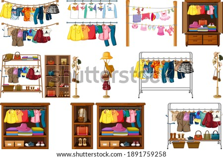 Set of clothes, accessories and wardrobe isolated on white background illustration Photo stock ©