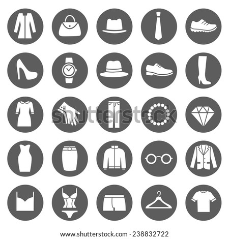 Set of Clothes Icons. Clothing Store. Vector