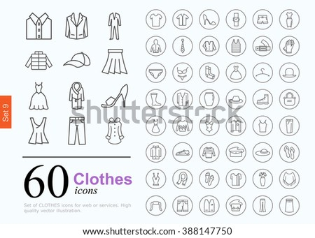 set of clothes icons for web or