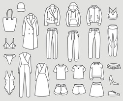Set of clothes icons, line style. Vector illustration