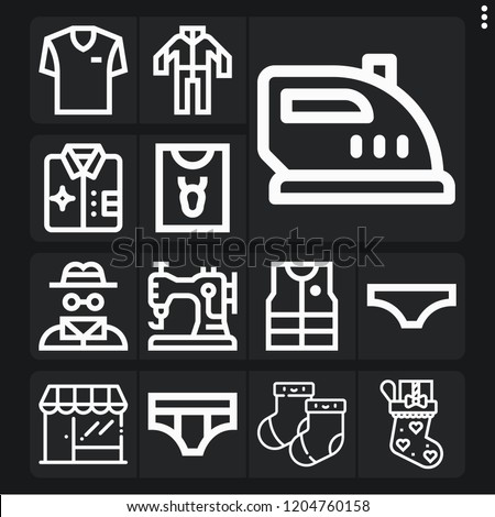 set of 13 clothes outline icons