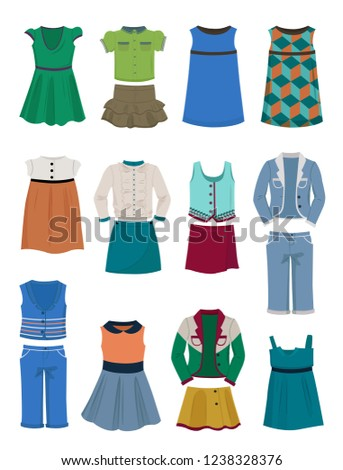 Set of clothing for school for girls, dresses,blouses, costumes and skirts. Different models isolated on white background.