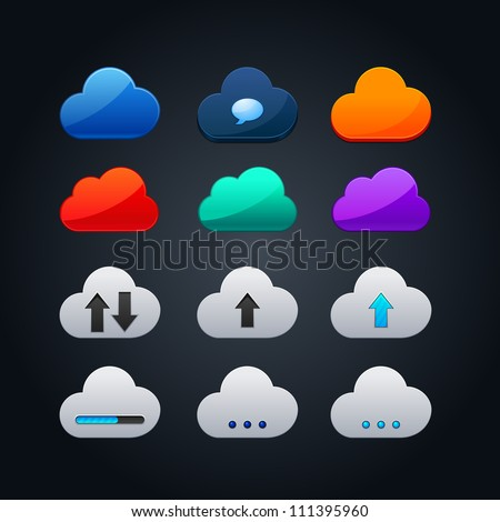 set of cloud icon computing concept design