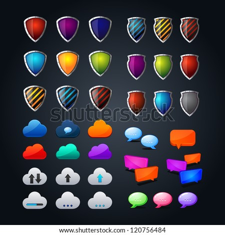 set of cloud icon computing concept design, colorful shields, colorful web bubble chat icon. question-answer illustration