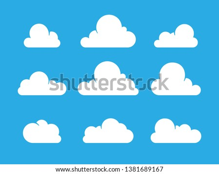 Set of Cloud Icons in flat style on blue background. White vector clouds isolated. Trendy modern cartoon style. Weather symbolic graphics for illustration, web design, poster, site, app.