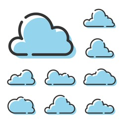 Set of Cloud Line Icons isolated on white background. Black outline icon with shifted blue flat fill. Vector symbol of meteorology, cloudy weather. Modern graphics for web design, illustration.
