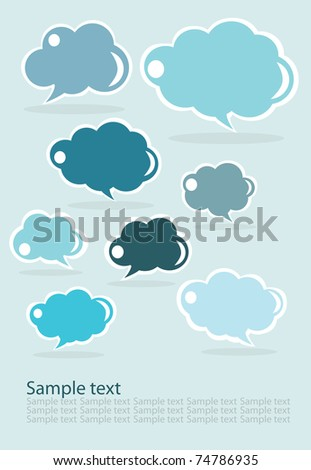 set of clouds, blue
