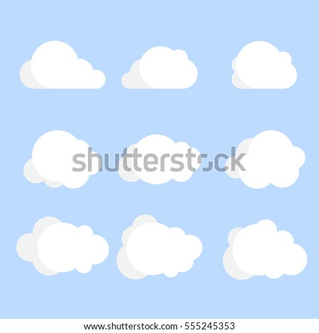 set of clouds, flat