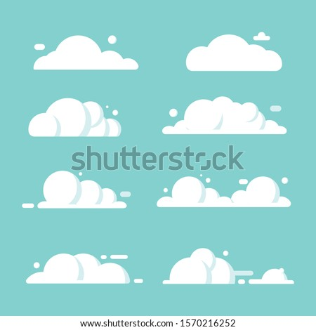 set of clouds flat cartoon. blue sky nature panorama with white cloud icon symbol concept. Vector flat cartoon illustration for web sites and banners design.