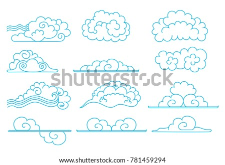 Set Of Clouds Hand Drawn Chinese Blue Outline Contours In The