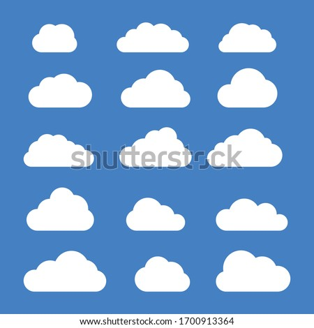 Set of clouds in blue sky. Cloud icon shape. Collection of different clouds, label, symbol. Graphic vector design element for logo, web and print.